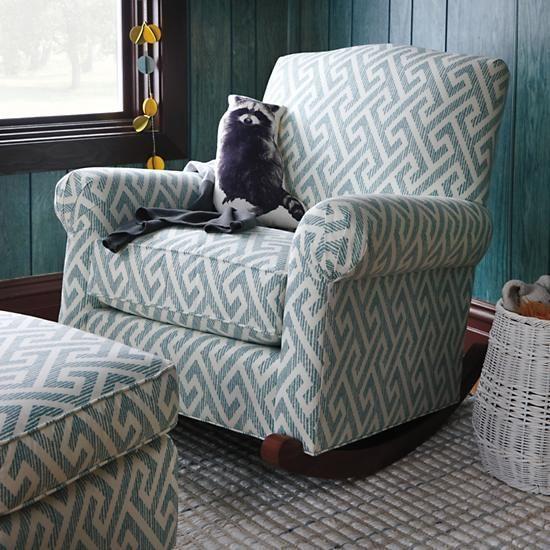 Teal Upholstered Nursery Rocking Chair