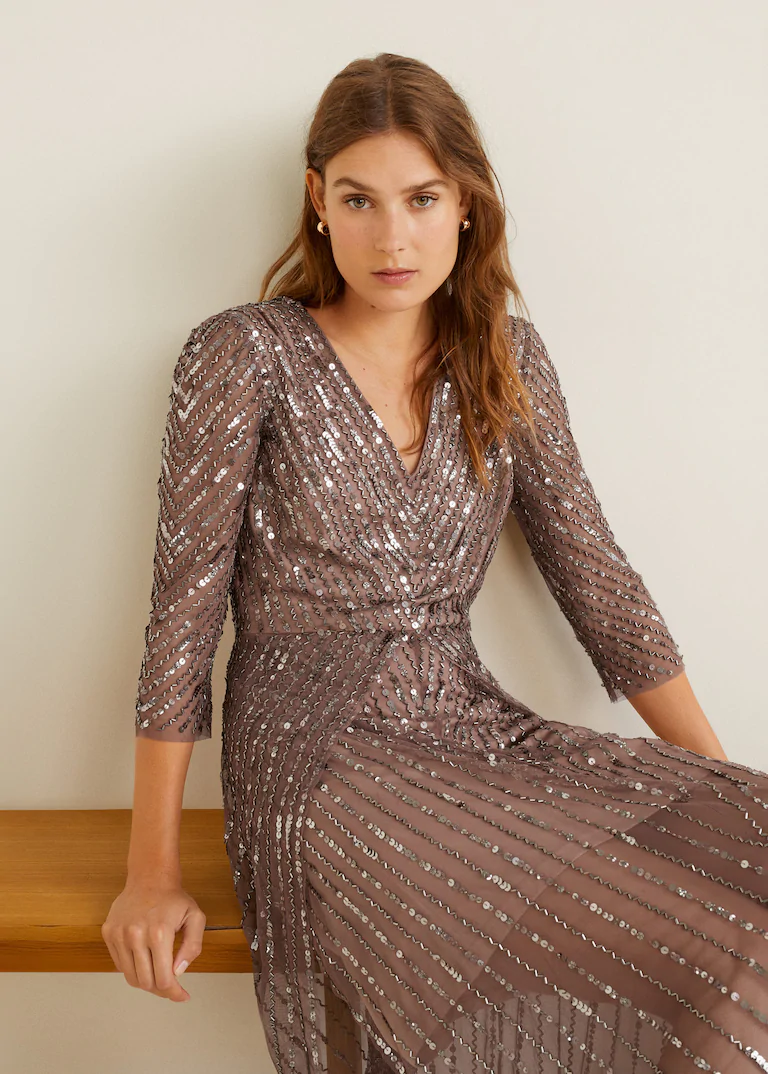 Sequined gown - Women  Mango USA  Fashion, Gowns, Long dress