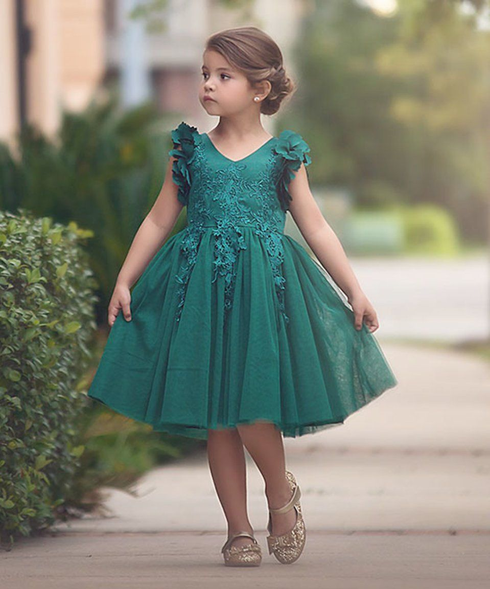 Take a look at this Emerald Green Bianca Dress - Infant, Toddler ...