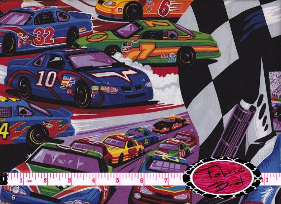 Quilting,Craft various lengths RACING CARS cotton fabric Patchwork Sewing
