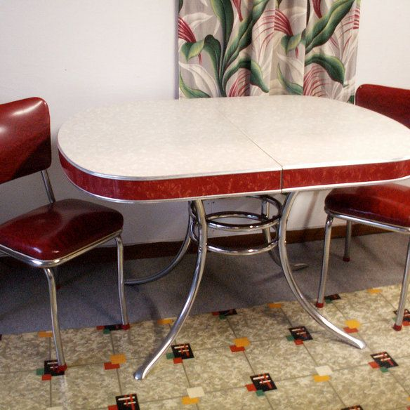 Pic Of Vintage Chrome Tables | Vintage Gray / Red Formica U0026 Chrome Retro  Table In