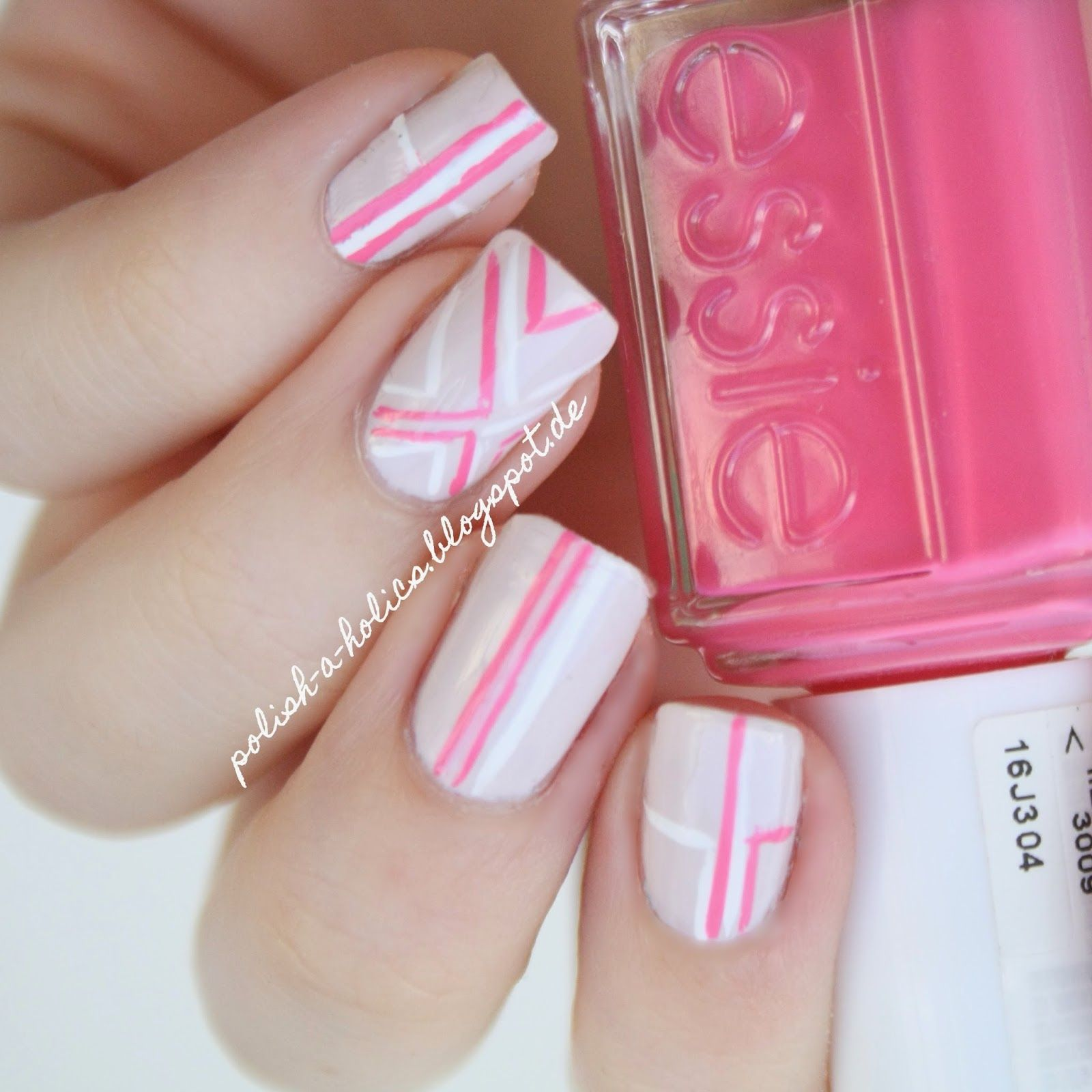 pink #stripes #nails #manicure #nude #essie | My Nail Art | Pinterest