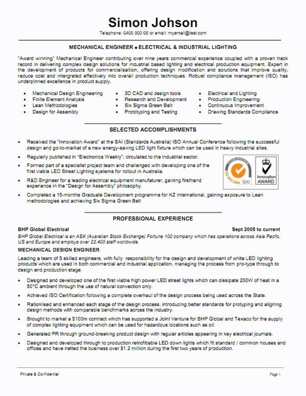 Mechanical Engineer Resume Sample Famous Mechanical