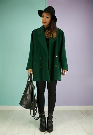 Vintage 80's Forest Green Wool Coat, ASOS, Marketplace | Gameday ...