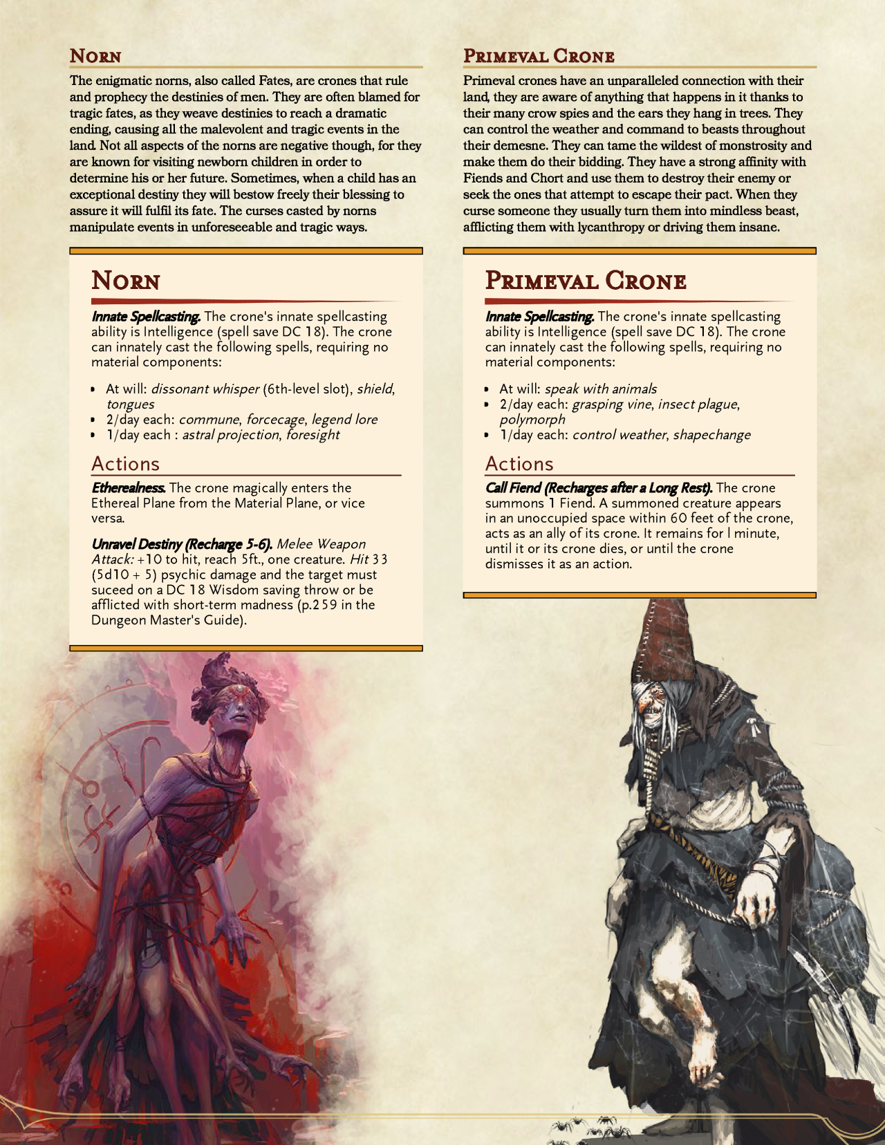 DnD 5e Homebrew: Norn and Primeval Crone | Dungeons and