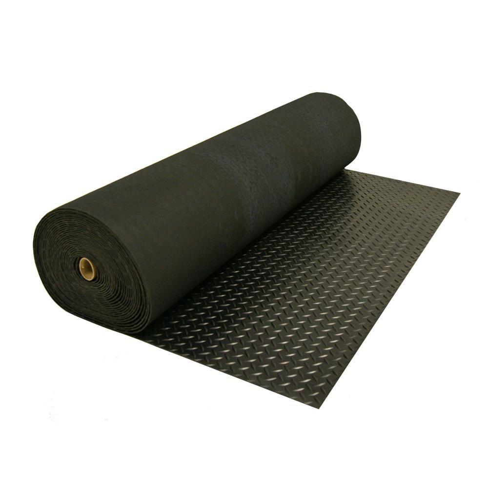 Rubber Cal Diamond Plate 4 Ft X 8 Ft Black Rubber Flooring 32 Sq Ft 03 206 W100 08 The Home Depot Rubber Flooring Diamond Plate Rolled Rubber Flooring