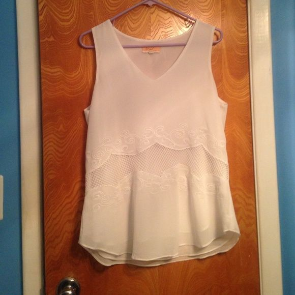 Sheer white boutique top size large Very cute and perfect for spring and summer lost april by naked zebra Tops