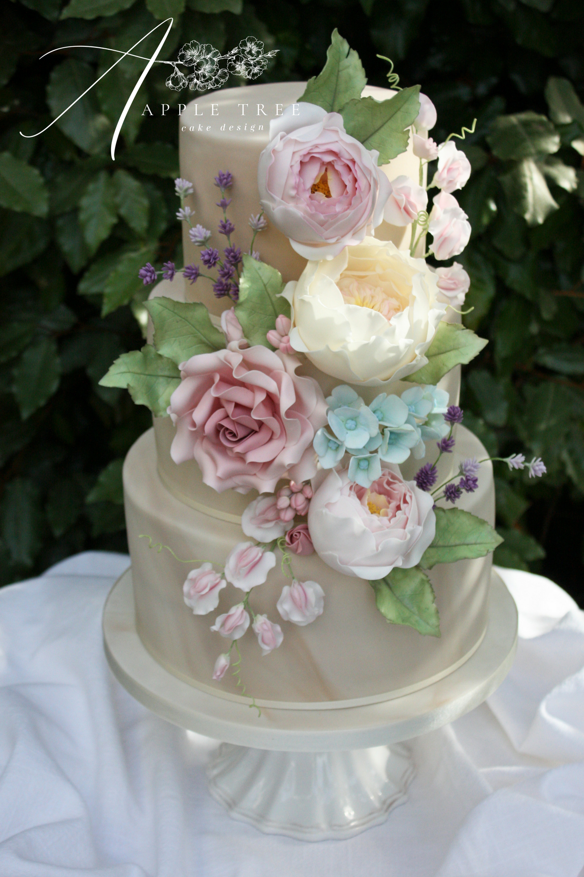 Melissa Marble Wedding Cake Decorated With A Cascade Of Handmade