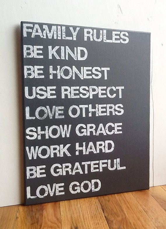 16X20 Canvas Sign   Family Rules, Graphite Gray And White, Living Room Decor,  Typography Word Art, $55