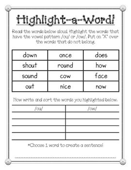 Phonics Spelling Ou Ow Words