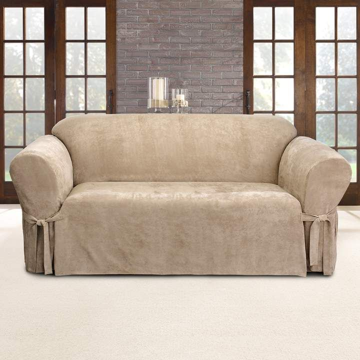 Sure Fit Faux Suede Sofa Slipcover Suede Sofa Sofa Slipcovers