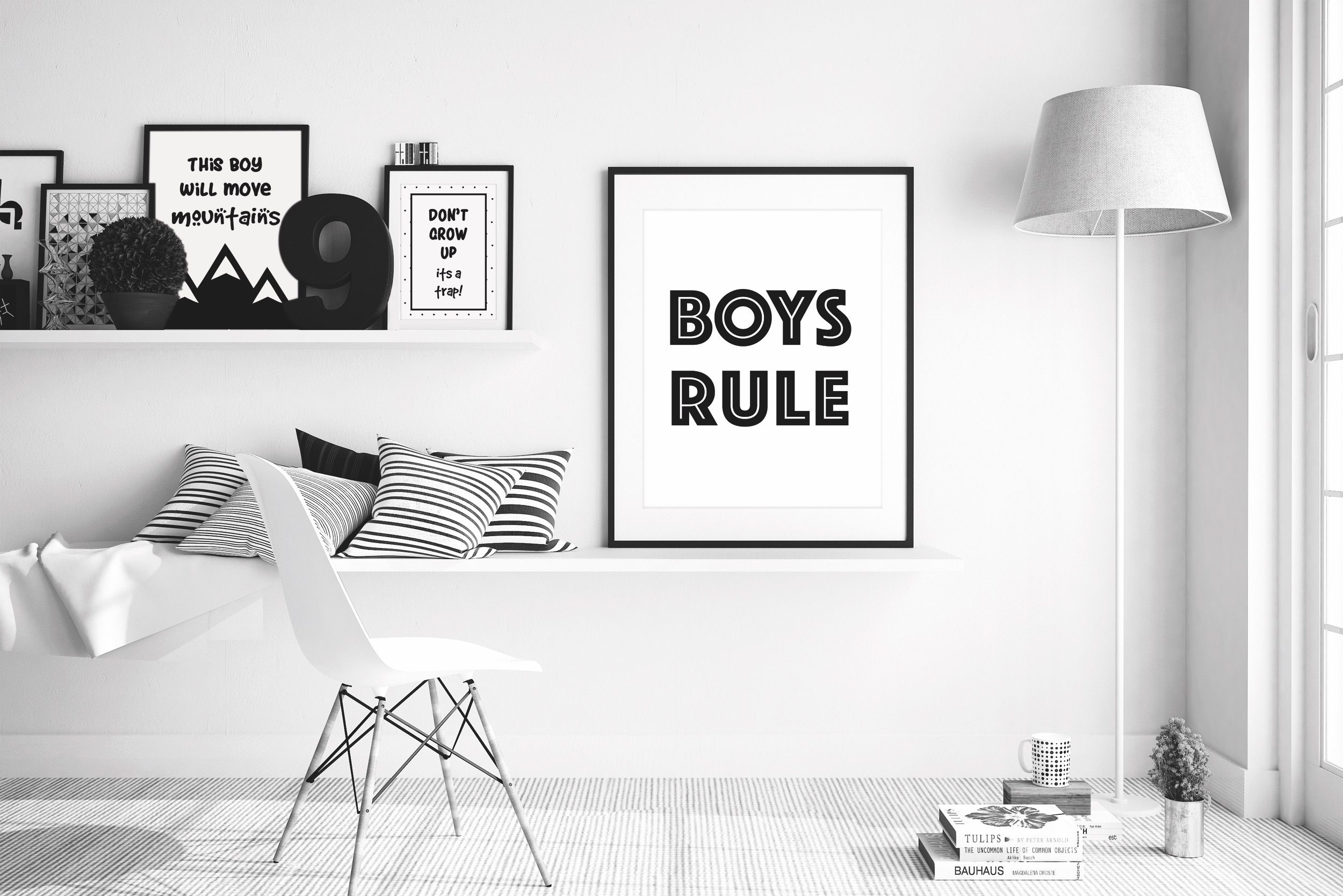Boys Rule wall print, monochrome, scandi, black and white