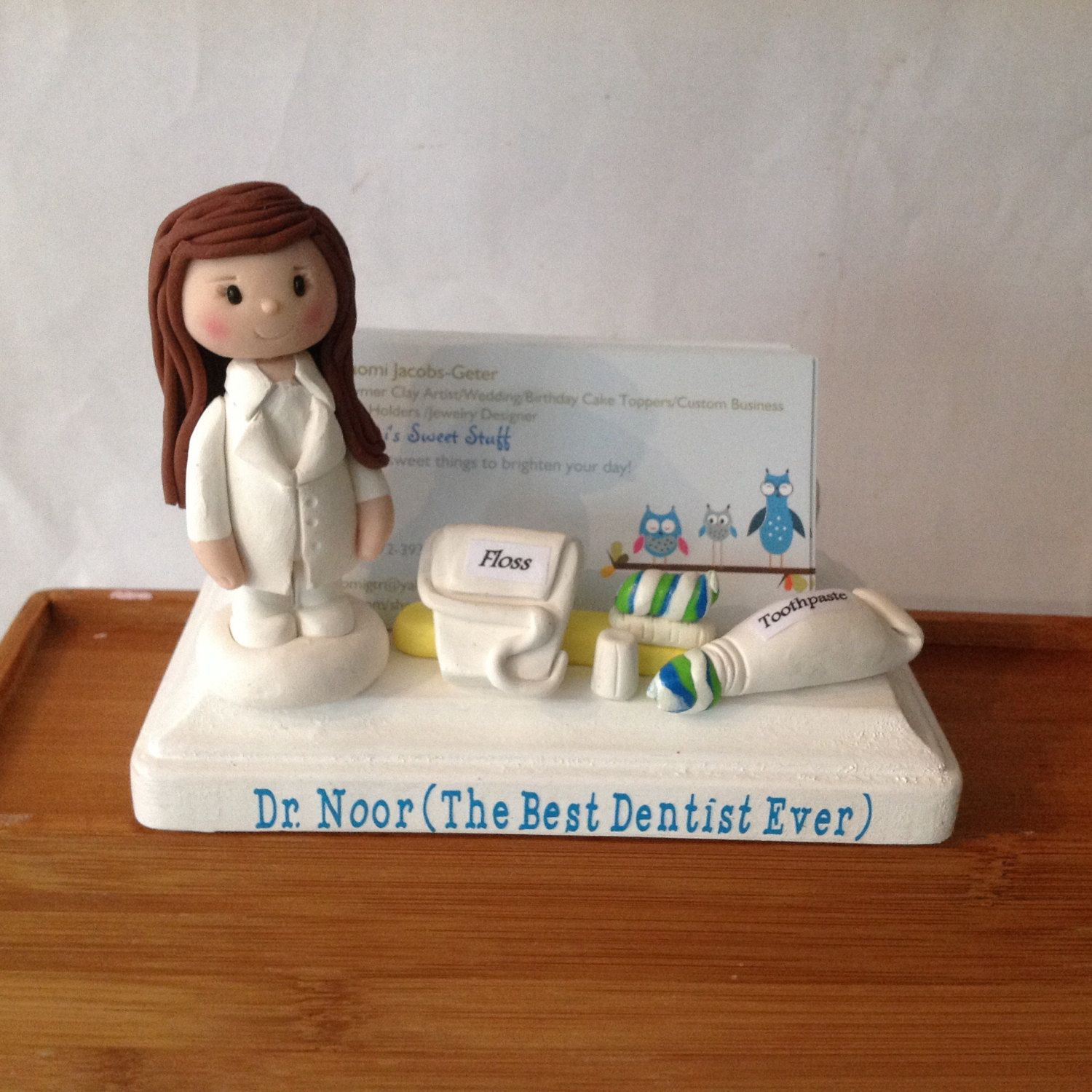 Custom business card holder for a dentist handmade polymer clay