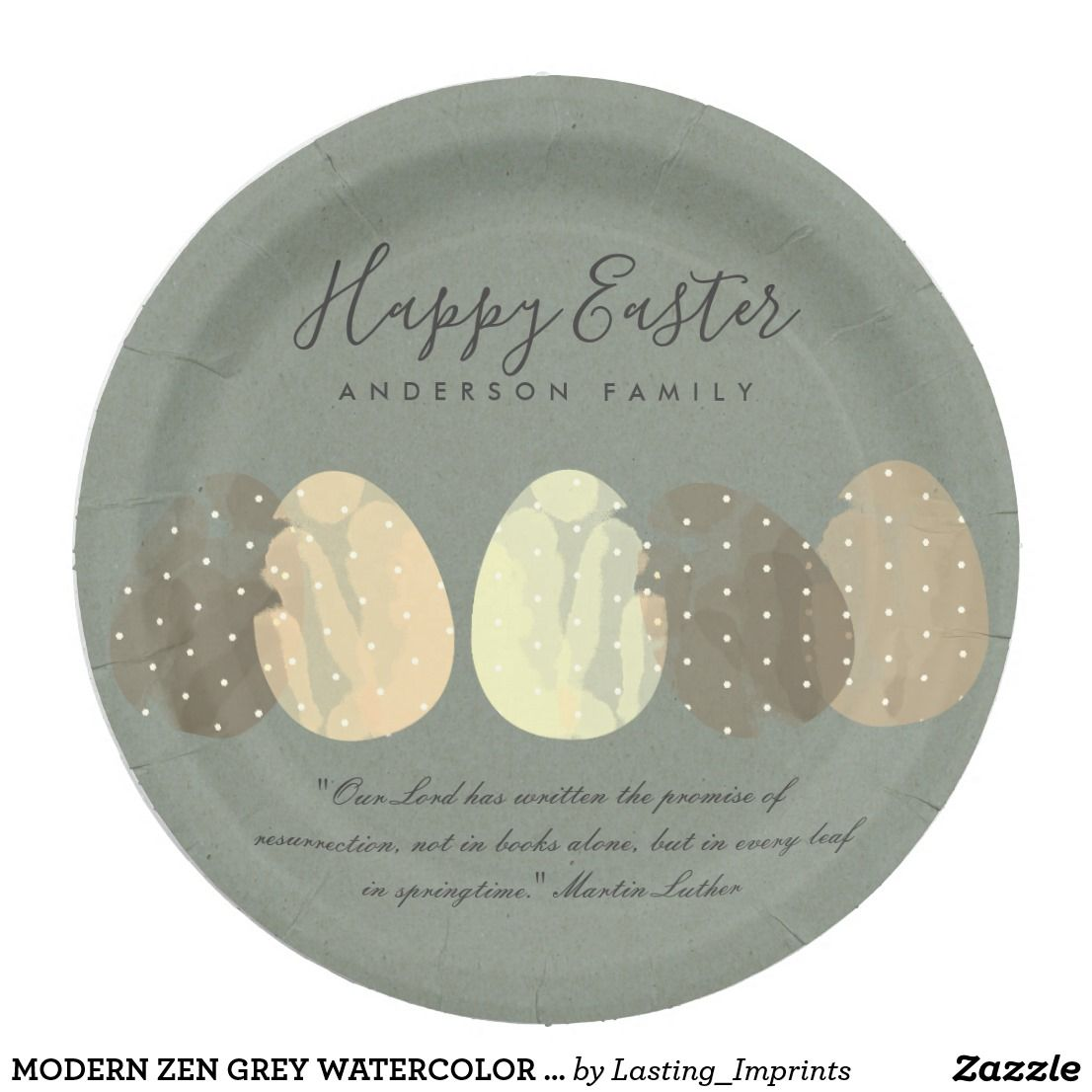 MODERN ZEN GREY WATERCOLOR EASTER EGGS PERSONALIZE PAPER PLATE  sc 1 st  Pinterest & MODERN ZEN GREY WATERCOLOR EASTER EGGS PERSONALIZE PAPER PLATE ...