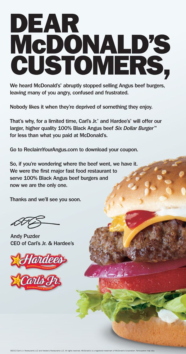 Carl\'s Jr. Pounces With a Print and Video Attack as McDonald\'s Drops ...