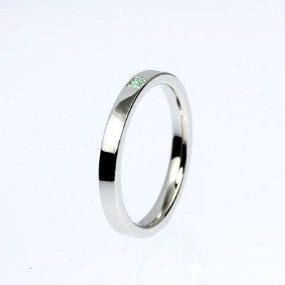 Green Diamond Ring Palladium Wedding Ring Modern Wedding Band Green Diamond Wedding Ring Thin Ring Simple Wedding Green Engagement Smycken