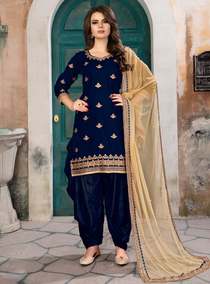 13a63882e5 Buy Navy Blue Velvet Patiala Suit 133456 online at lowest price from vast  collection at m.indianclothstore.c.