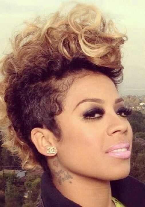 Keyshia Cole S Big Curly Mohawk On The Fashion Time Http Thefashiontime Com 15 Keyshia Cole Best Ha Mohawk Hairstyles Hair Styles Short Natural Hair Styles
