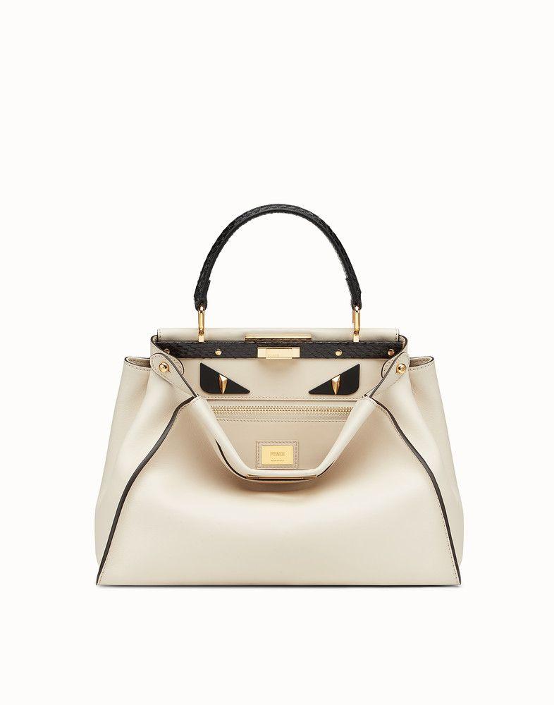 73b4f4498d60 FENDI PEEKABOO REGULAR - Exotic white leather bag - view 1 detail ...