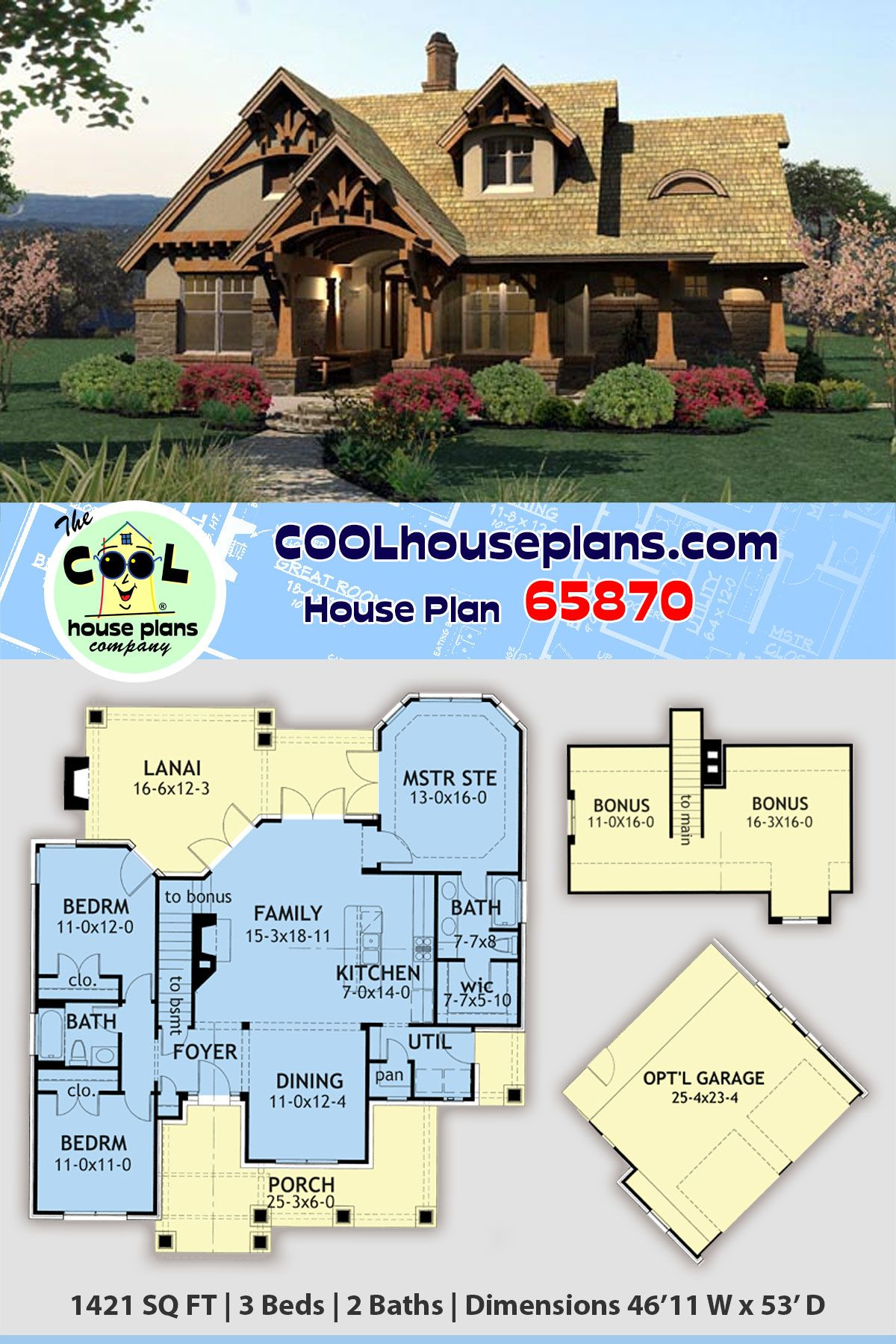 Tuscan Style House Plan 65870 With 3 Bed 2 Bath 2 Car Garage In 2020 Tuscan House Plans House Plans Porch House Plans