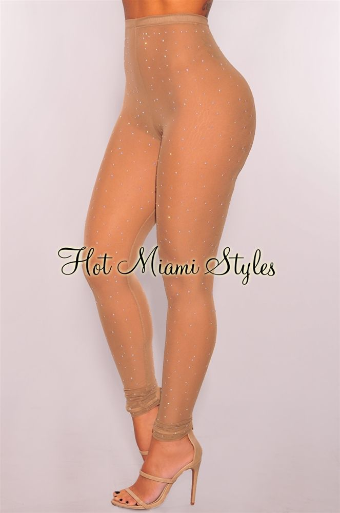 3b4500a35a9 Nude Iridescent Stones Sheer Mesh Stockings | HotMiamiStyles ...