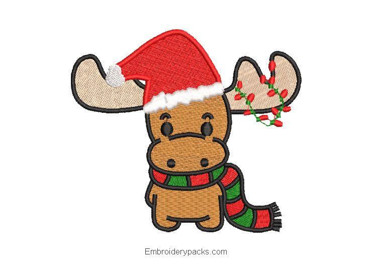 Christmas Reindeer With Lights Embroidery Design Embroidery Designs Embroidery Design Download Christmas Reindeer