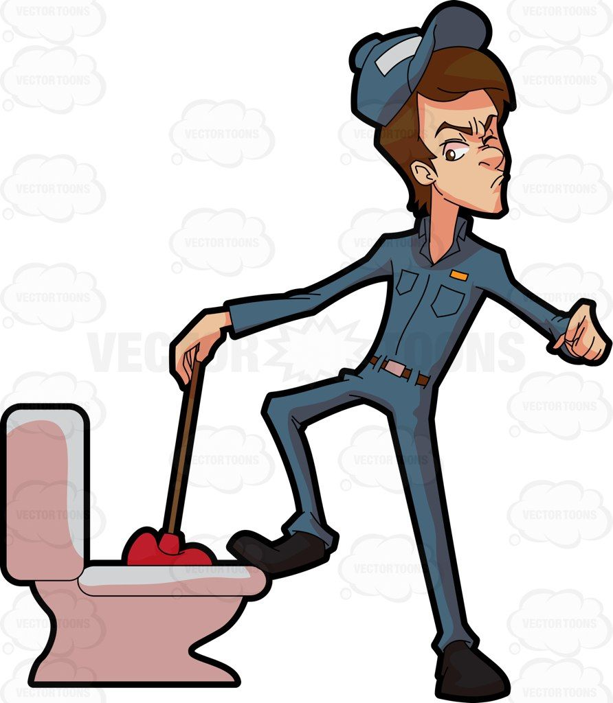 A Plumber Trying To Fix A Clogged Toilet Vector Graphics Vectortoons Com Plumber Clogged Toilet Plumbing