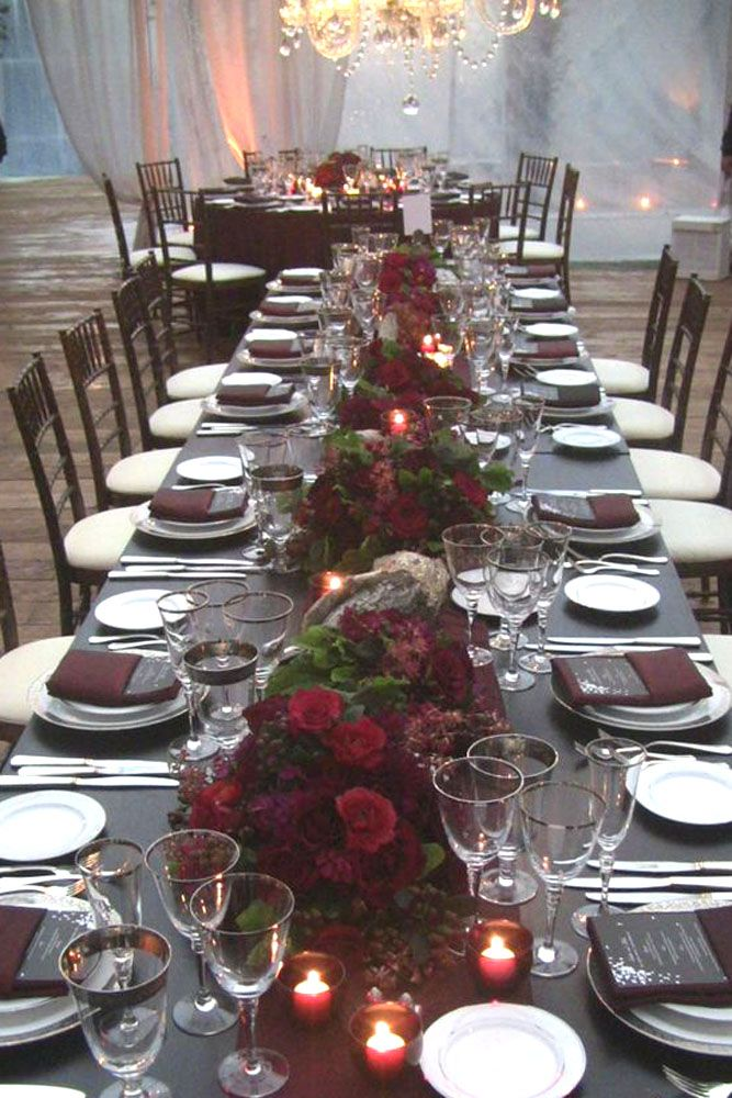 Burgundy Wedding Table Decor And Centerpieses