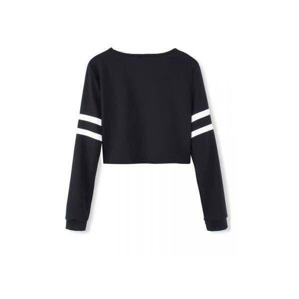 5afeeae7d8e9 White Stripped Black Long Sleeve Short Crop Baseball Women T-Shirt (33 ILS)  ❤ liked on Polyvore featuring tops, t-shirts, black crop tee, baseball tee,  ...