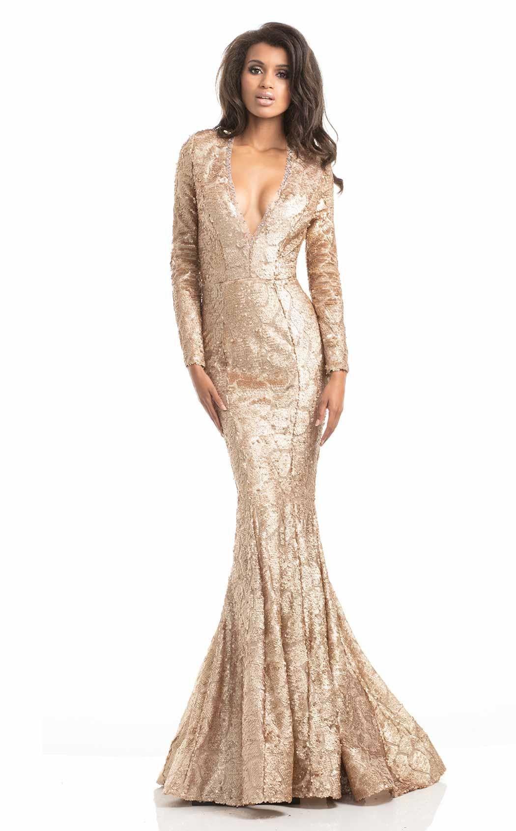 Johnathan kayne long sleeve sequin plunging vneck prom evening