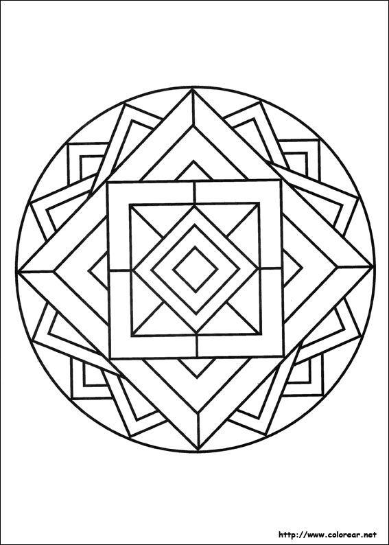 Mandala Con Cuadrados Mandalas Para Colorear Mandalas Geometricas Mandala Sencilla