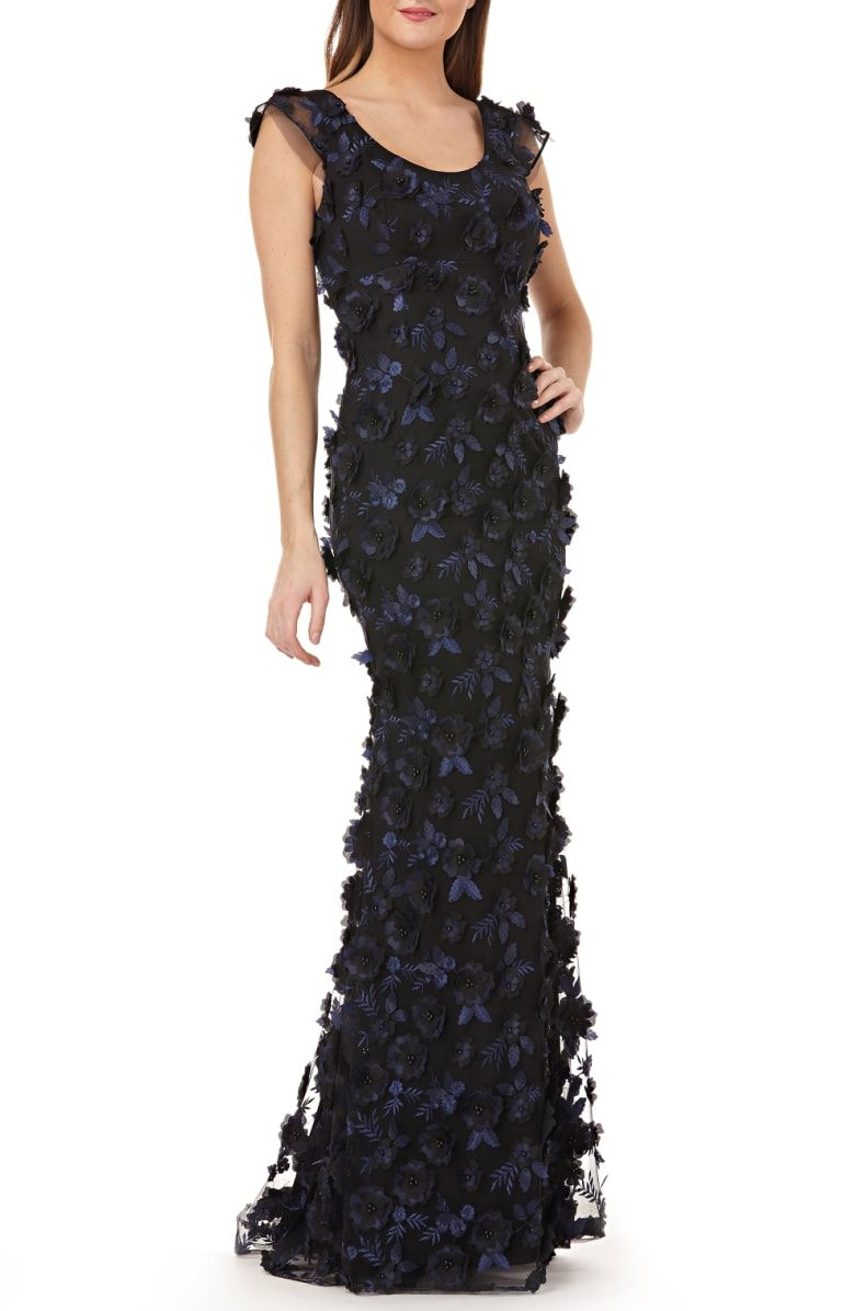e183e51fc595c Free shipping and returns on Carmen Marc Valvo Infusion 3-D Floral Evening  Dress at Nordstrom.com. An elegant interplay of embroidery and three- dimensional ...