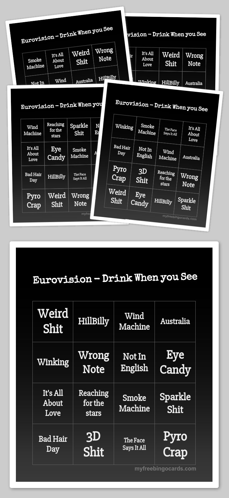 Eurovision Drink When You See Bingo Free Printable Bingo Cards Bingo Cards Bingo