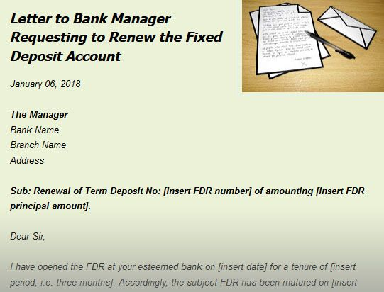 Letter to Bank Manager Requesting to Renew the Fixed Deposit ...