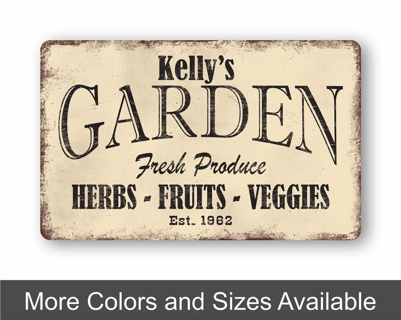 Garden Decor Custom Metal Sign Plant Lover Gift Garden Etsy In 2021 Custom Metal Signs Plant Lover Gift Fresh Produce Sign
