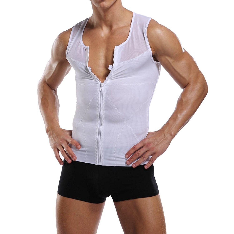 44db5d9093 Mens Body Shaper Elastic Sculpting Vest Shirt Waist Shapewear Abdomen Slim  - White - CF18257Z0HW