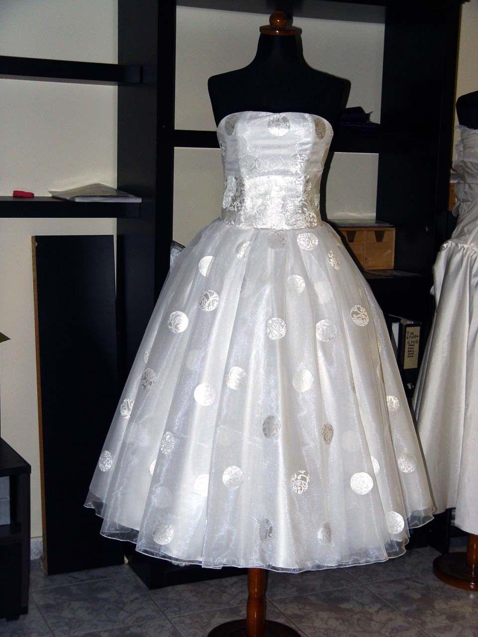 White polka dot wedding dress.