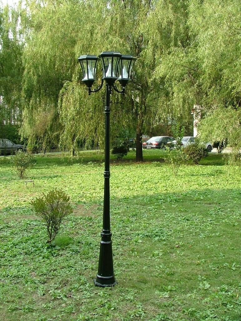 Great Gamasonic 7 Ft Tall Solar Lamp Post With Three Heads For Front Yard Near  Curb