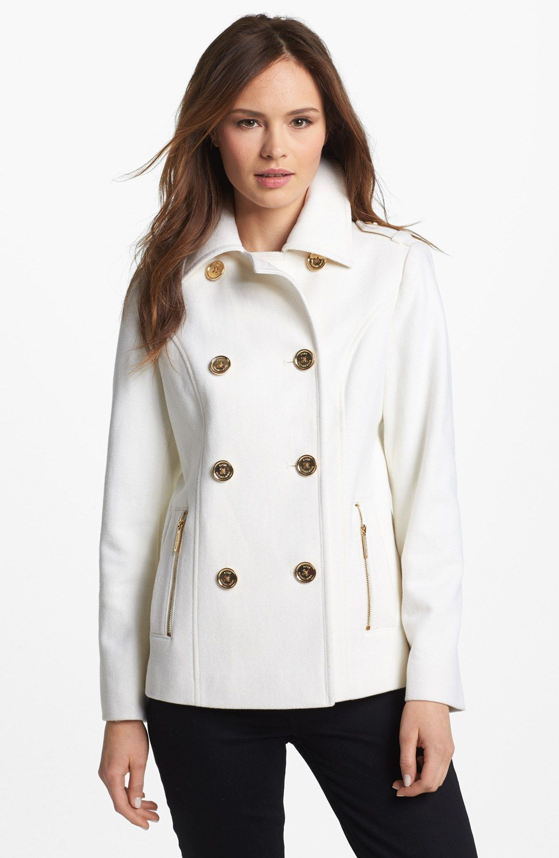 white-pea-coat-women | Pea Coat | Pinterest | Coats, Spring and ...