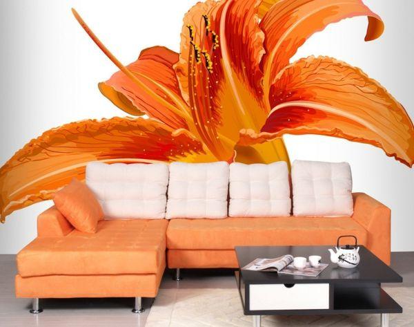 Wohnzimmer Tapete Orange Blume Weisse Dekokissen