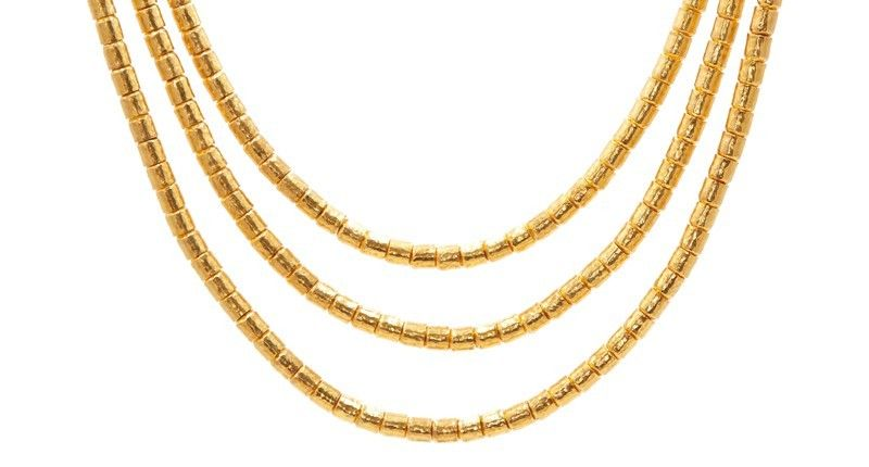 A 24 Karat Gold Necklace From Designer Gurhan National Jeweler Examined Recent Sales Of Jewelry From A Numb In 2020 Gold Lariat Necklace Necklace Layered Necklace Set