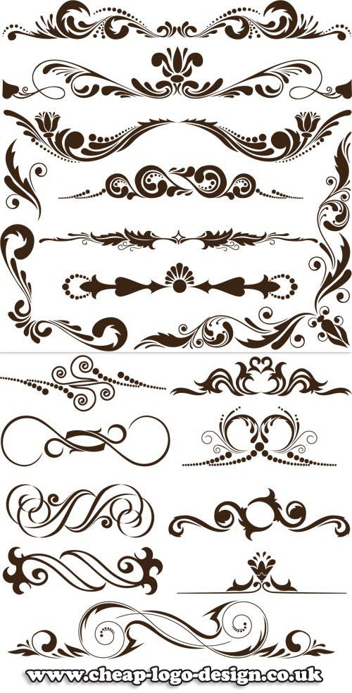 Calligraphy swirl graphics for use with ornate logos