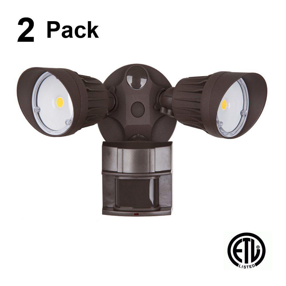 2 Pack Led Security Light 20w Flood 100 Watt Replacement Motion Sensor Photocell 1500 Lm 5000k Daylight Adjustabl Security Lights Motion Sensor 5000k