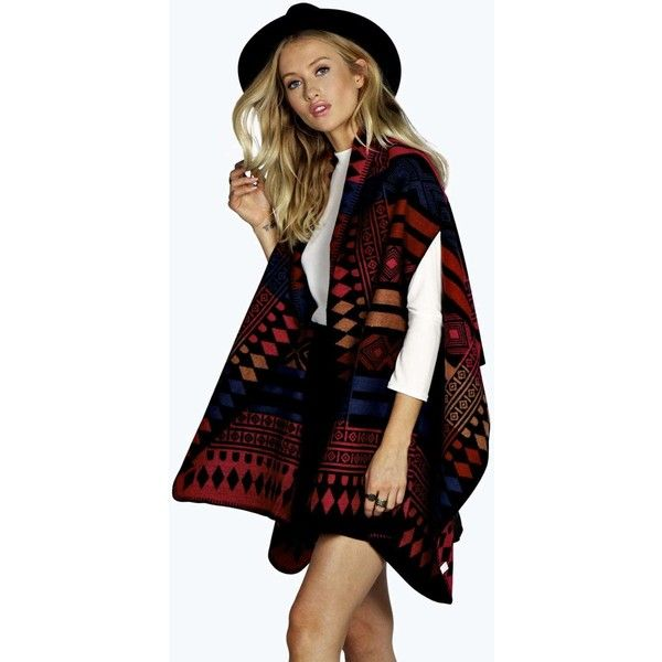 Boohoo Lola Aztec Patterned Cape ( 14) ❤ liked on Polyvore featuring  accessories 5f5459a3c4c0