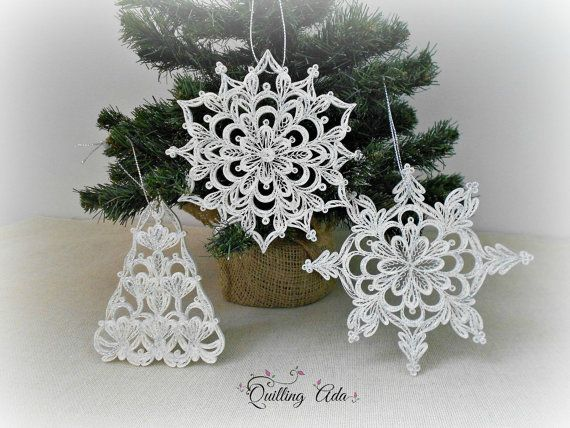 Set of 3 Christmas ornament-quilled snowflake-ornament tree-quilling paper-paper ornament