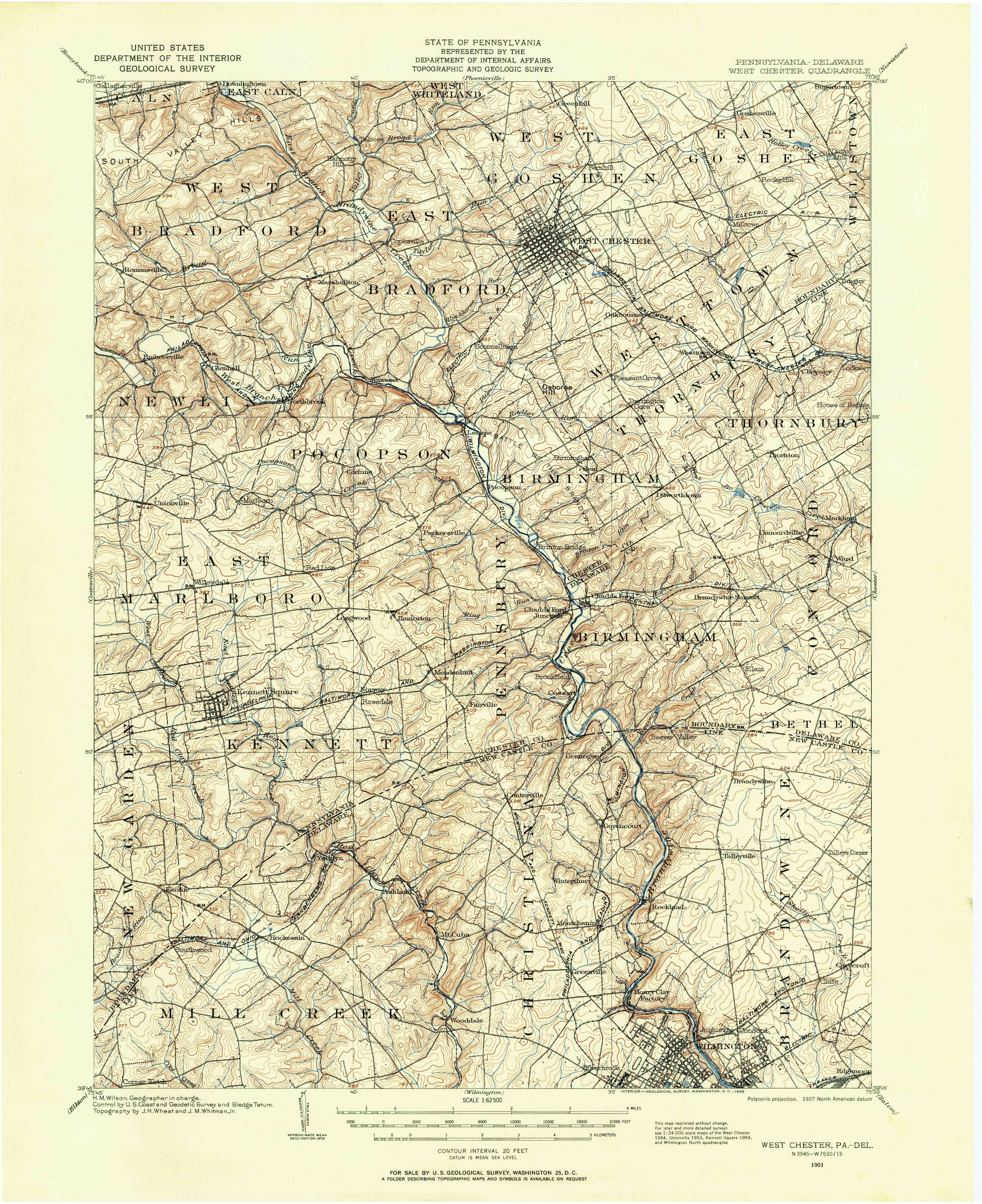 West Chester Pa 1901 Map From The Usgs Historical Topographic Map