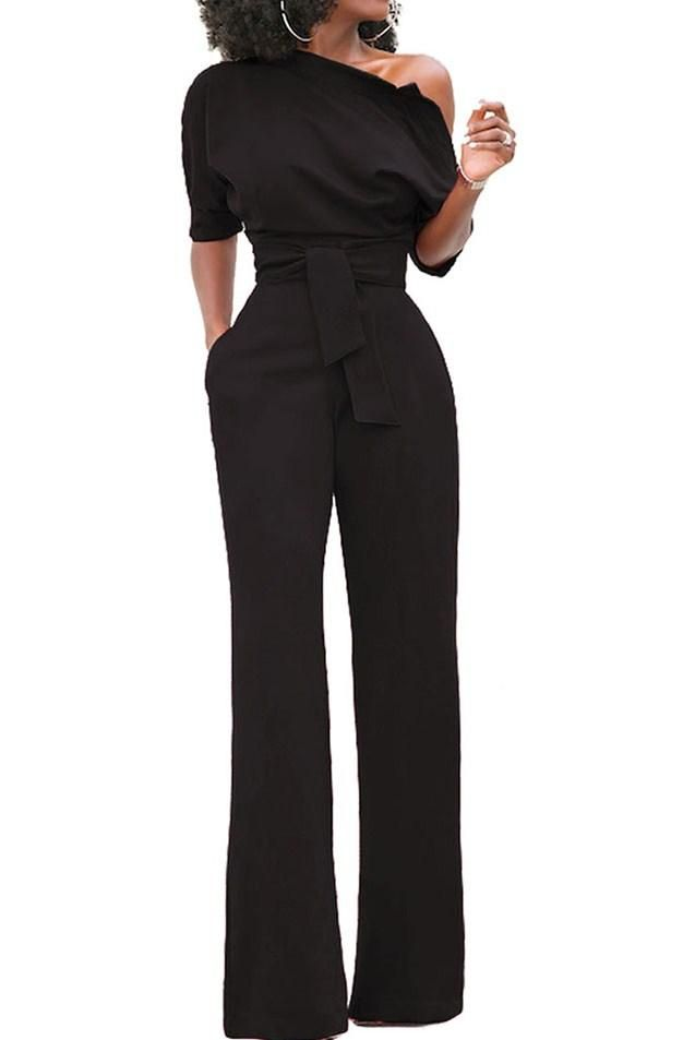 5cd169e83492 Black Slanted One Shoulder Wide Leg Formal Jumpsuit | My Style ...