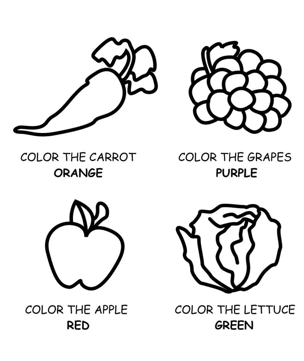 Healthy Food Fruit And Vegetables Coloring Page