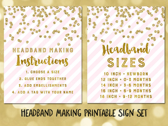 Printable Headband Making Station Instructions And Sizes Sign Set