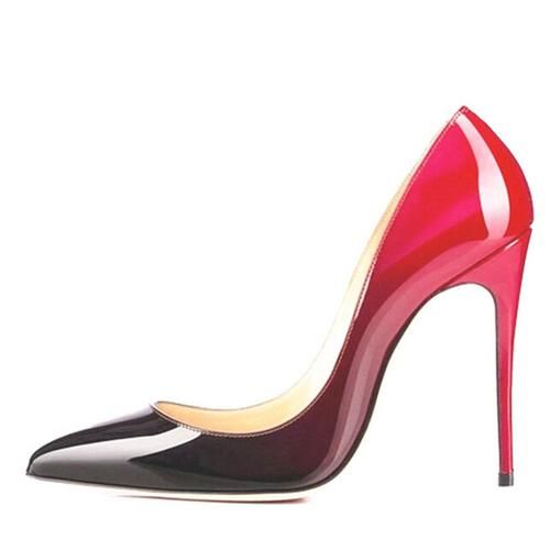 High Heels Wedding Shoes Black/Red  Leather - On Point Management Store